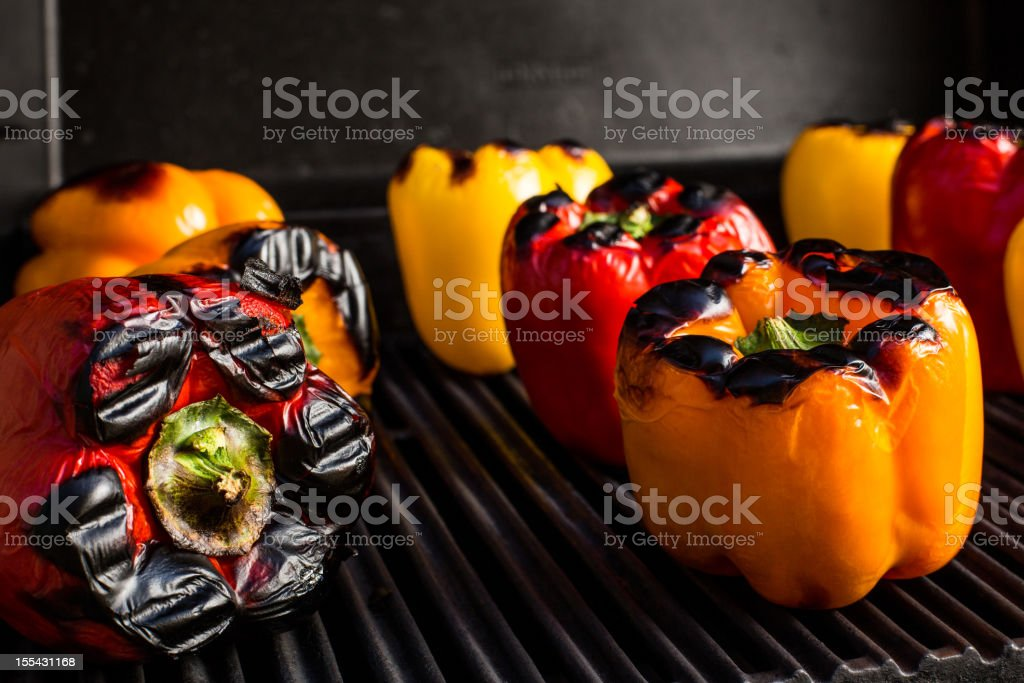 Roasting peppers stock photo