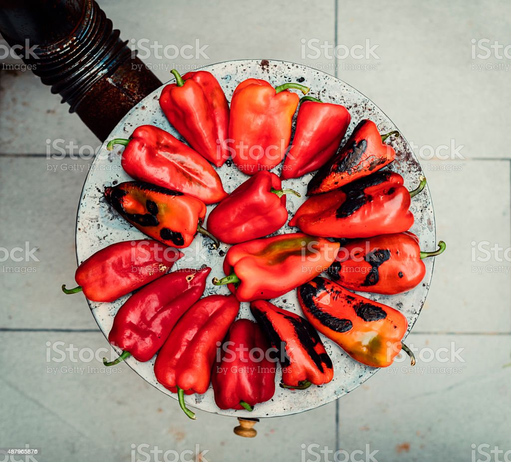 Roasting Red Peppers. stock photo