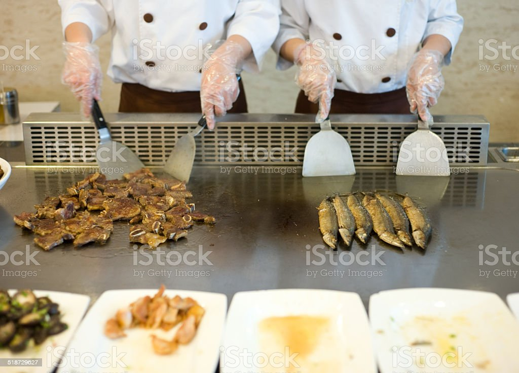 roasting teppanyaki stock photo