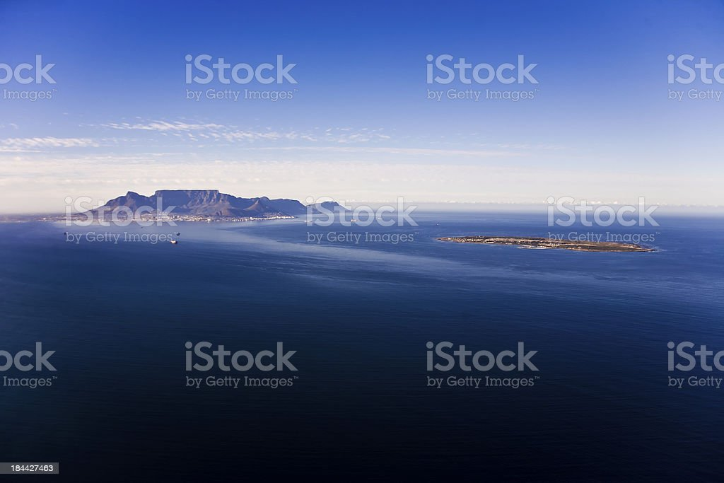 Robben Island and Table Mountain, Cape Town stock photo