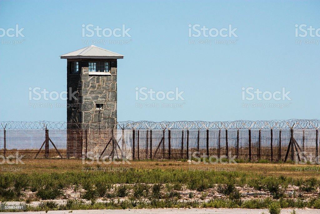 Robben Island Guard Tower stock photo