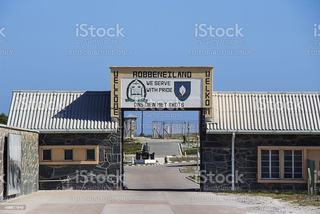 Robben Island Welcome Sign stock photo