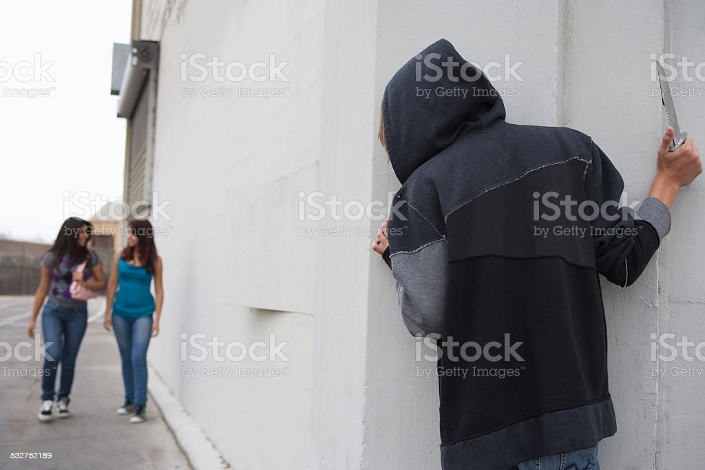 Robber on the  street stock photo