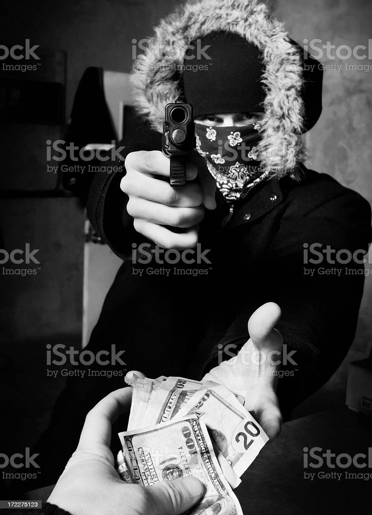 Robbery at Gunpoint royalty-free stock photo