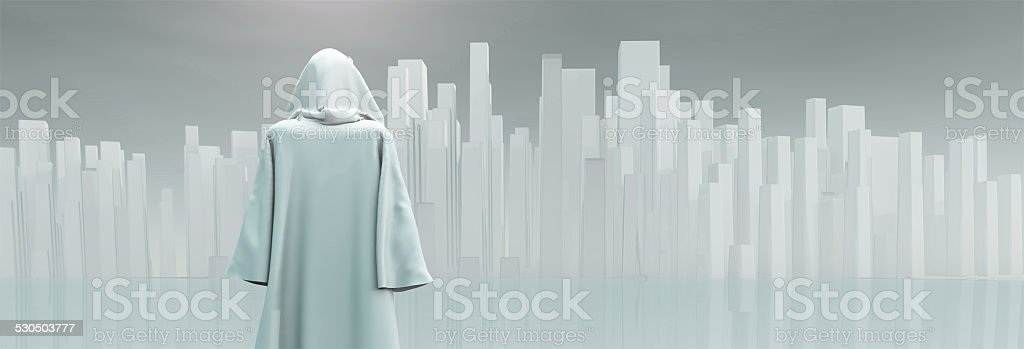Robed Traveler before the pure city stock photo