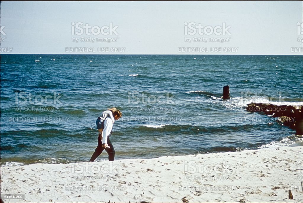 Robert and Caroline Kennedy on the Beach in Hyannis, 1964 stock photo