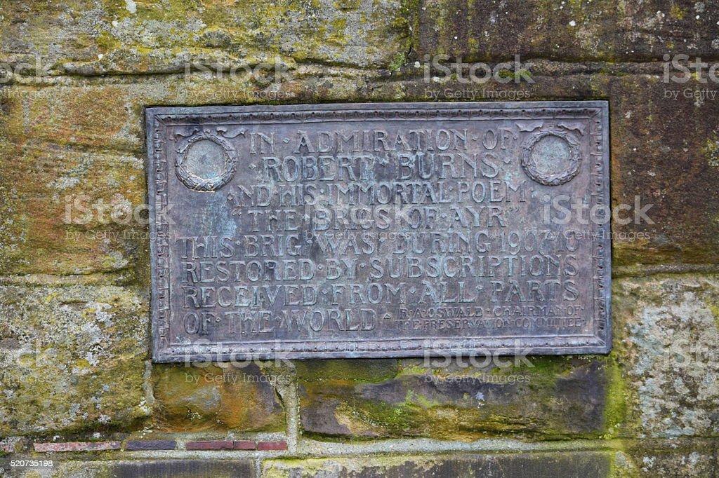 Robert Burns, commemorative plaque, Ayr Auld Brig stock photo