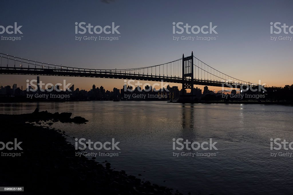 Robert F. Kennedy Bridge at dusk stock photo
