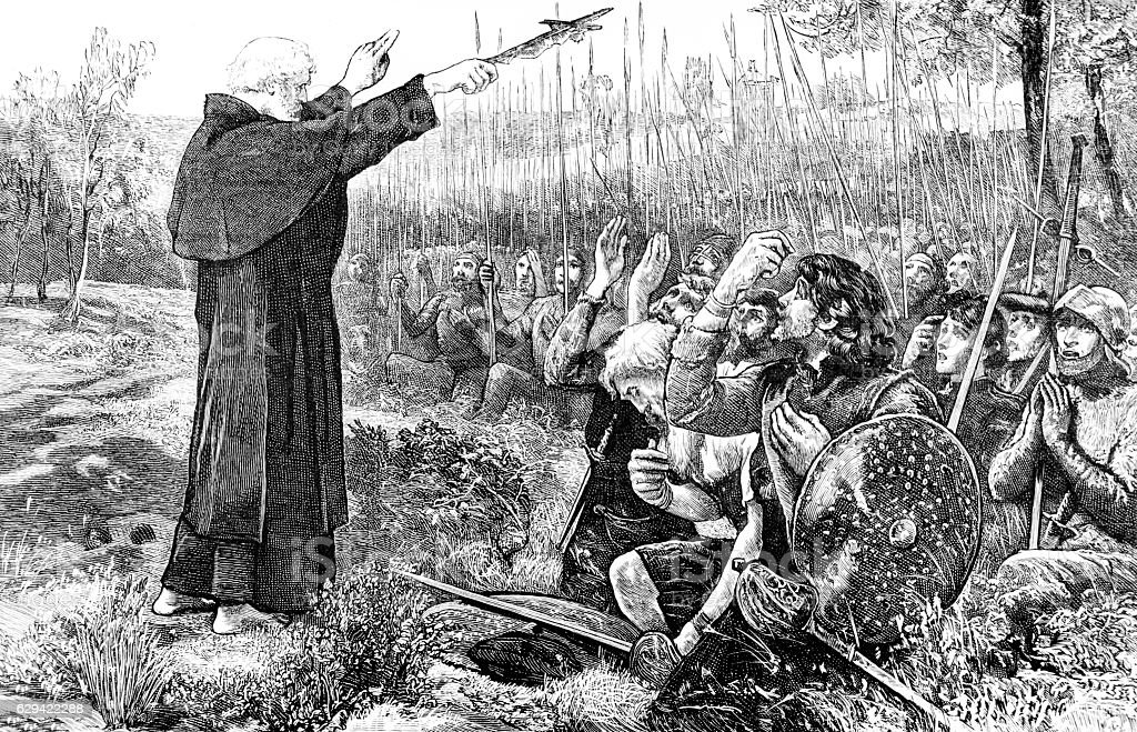 Robert the Bruce, Monk preaching to soldiers stock photo