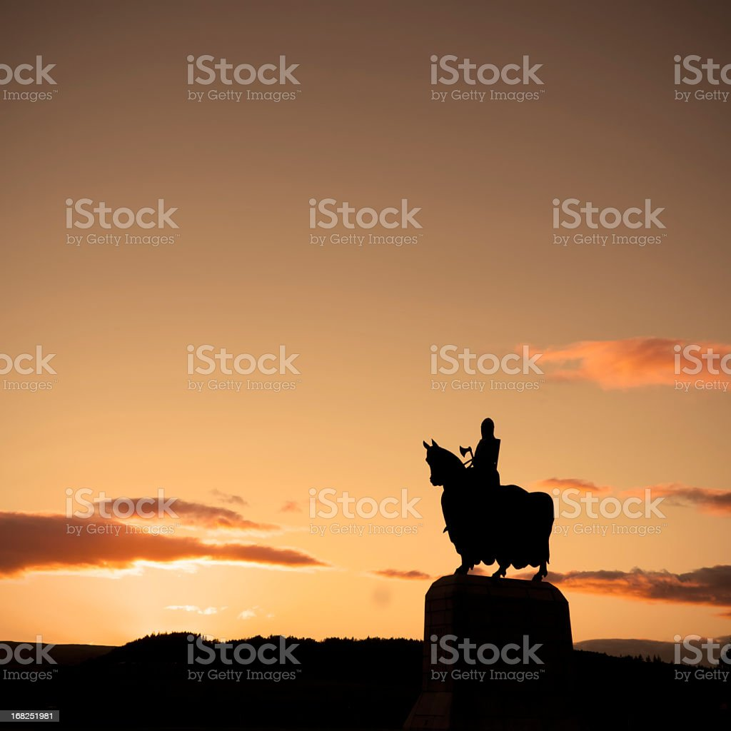 Robert The Bruce Statue In Silhouette. stock photo