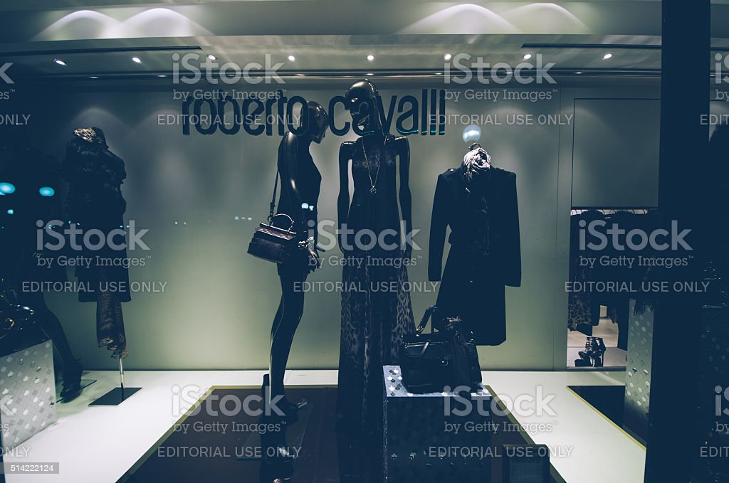 Roberto Cavalli, shop window, stock photo