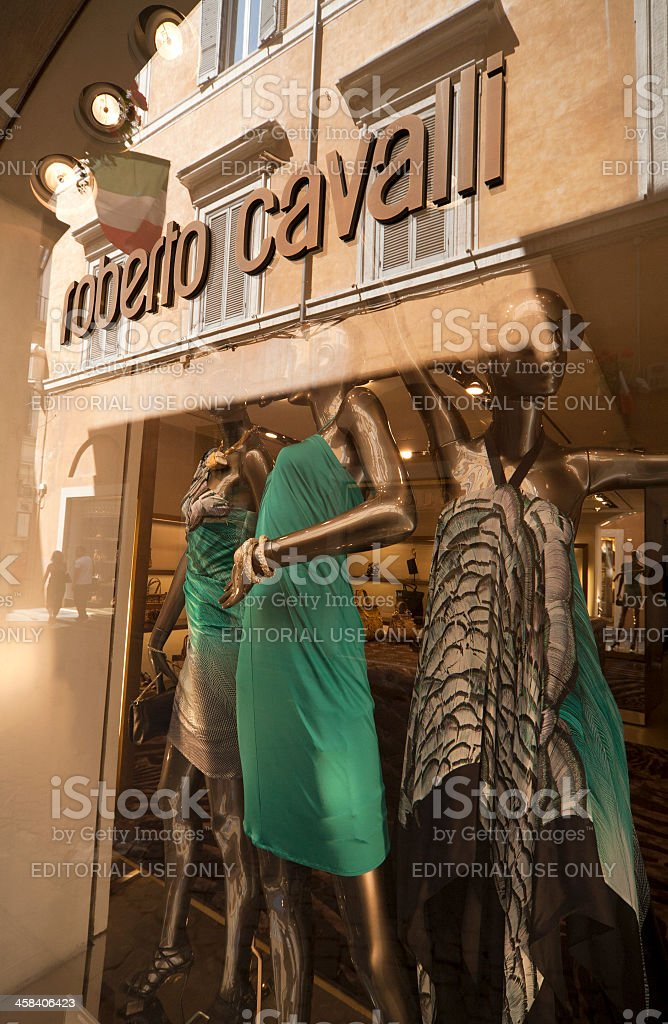 Roberto Cavalli, shop window, Rome, Italy stock photo