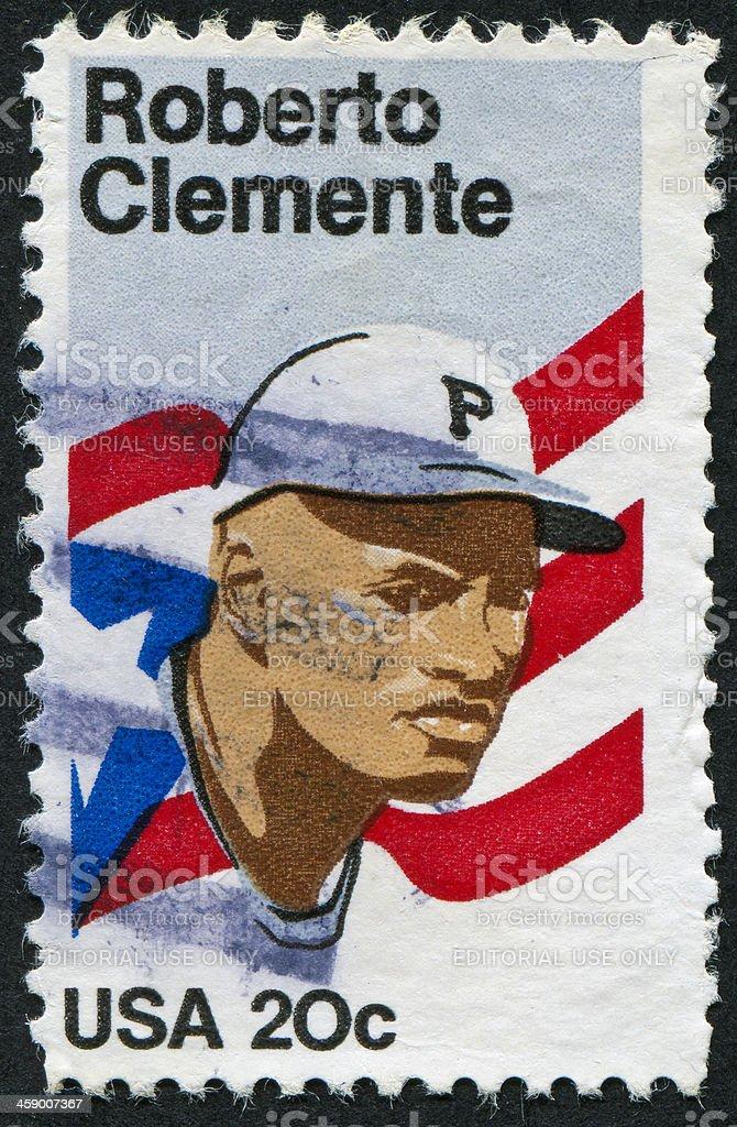 Roberto Clemente Stamp stock photo