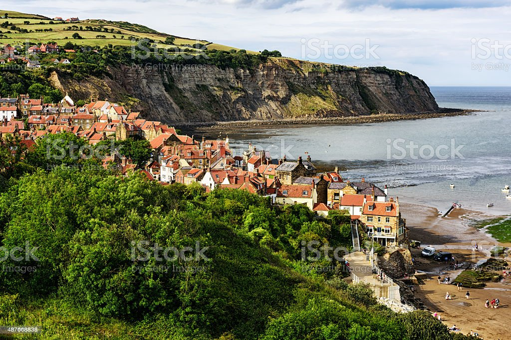 Robin Hoods Bay from above. A village in North Yorkshire stock photo