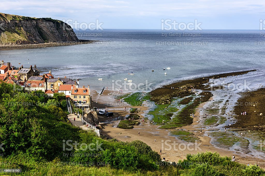 Robin Hoods Bay viewed from the Cleveland Way, England stock photo