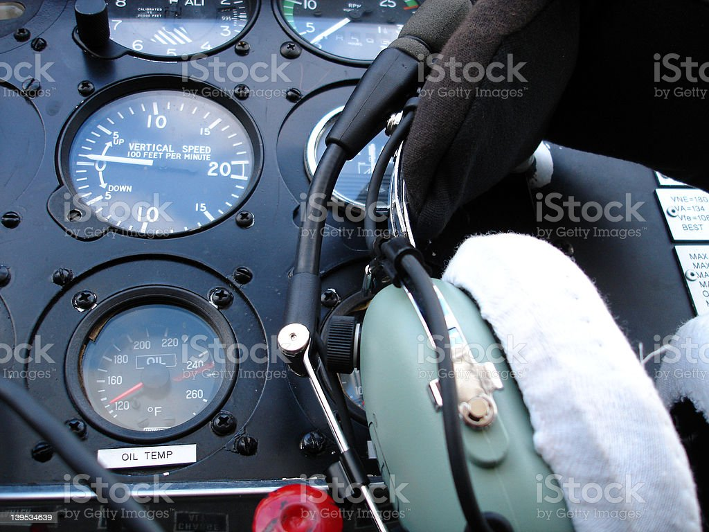 DR400 Robin instrument panel 02 royalty-free stock photo