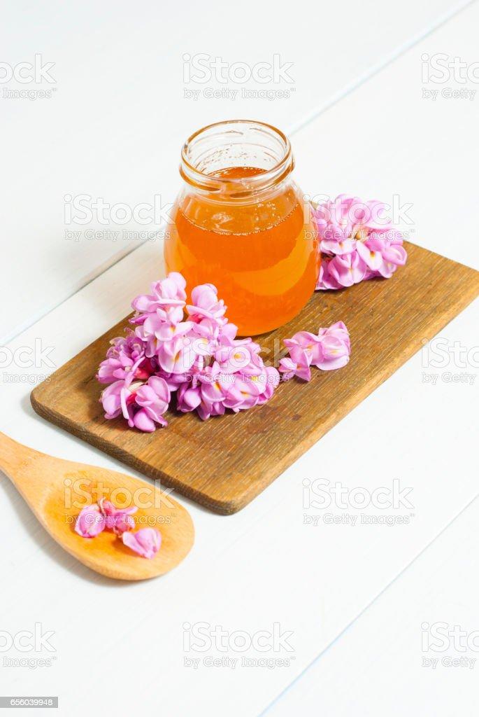 Robinia honey stock photo