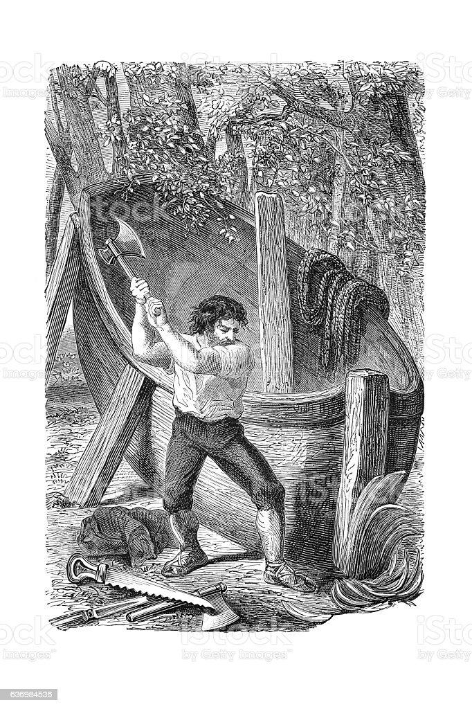 Robinson Crusoe building wooden boat 1881 stock photo
