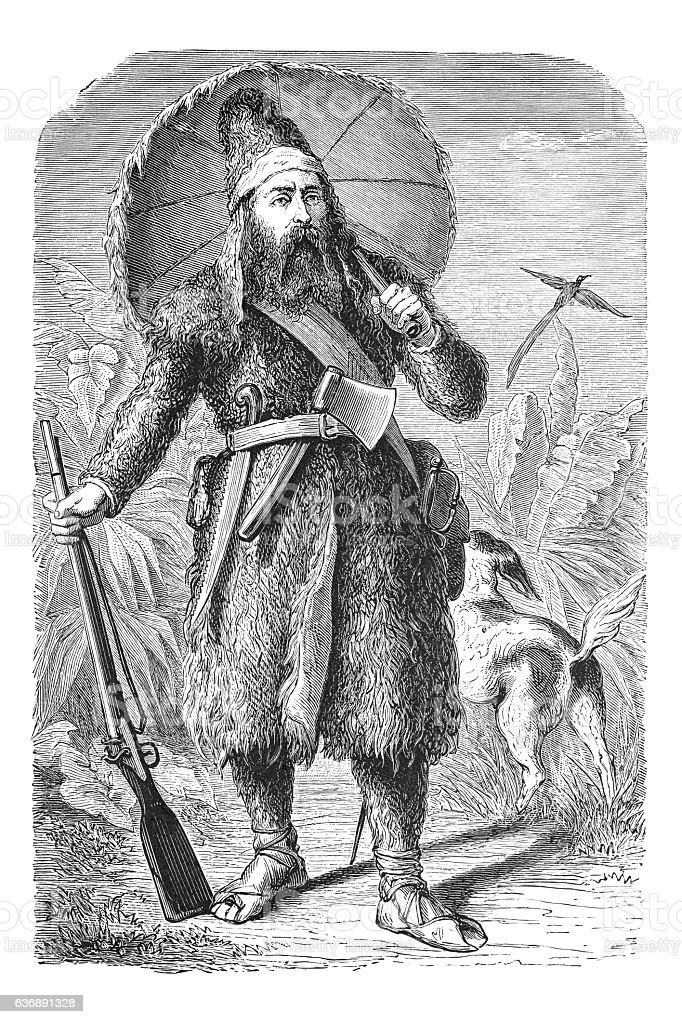 Robinson Crusoe by Daniel Davoe steel engraving 1881 stock photo
