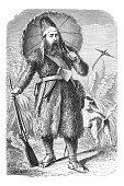 Robinson Crusoe by Daniel Davoe steel engraving 1881