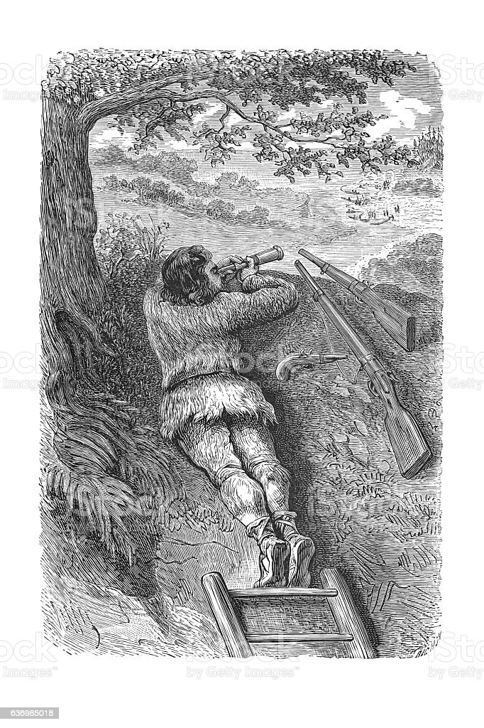Robinson Crusoe observing aboriginal engraving 1881 stock photo
