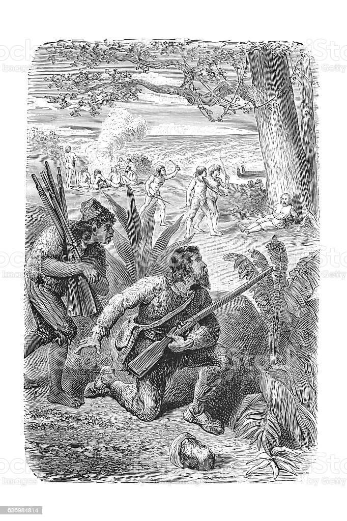 Robinson Crusoe observing with friday aboriginals 1881 stock photo
