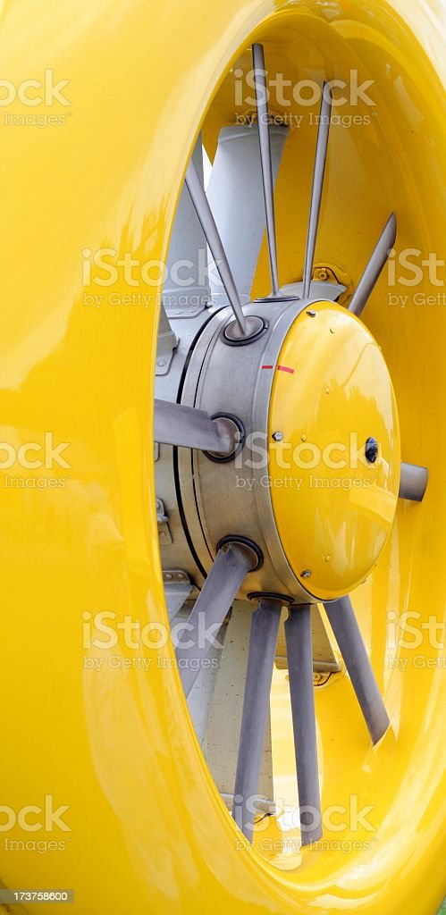 Robocopter airscrew in yellow stock photo