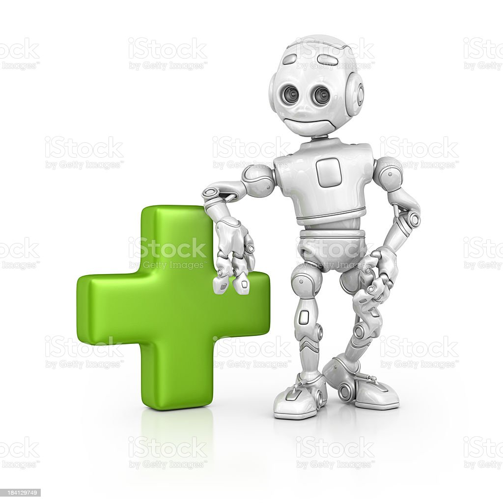 robot and add sign royalty-free stock photo