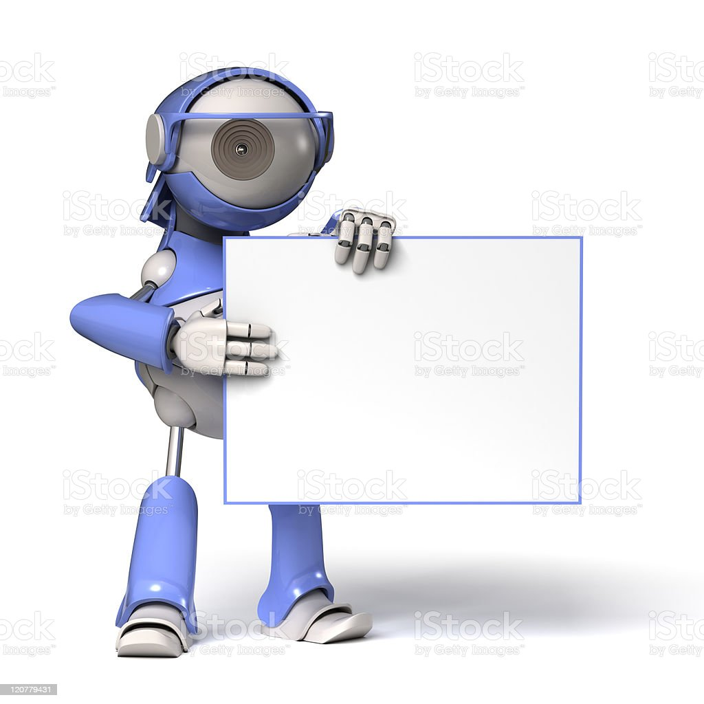 Robot and banner royalty-free stock photo