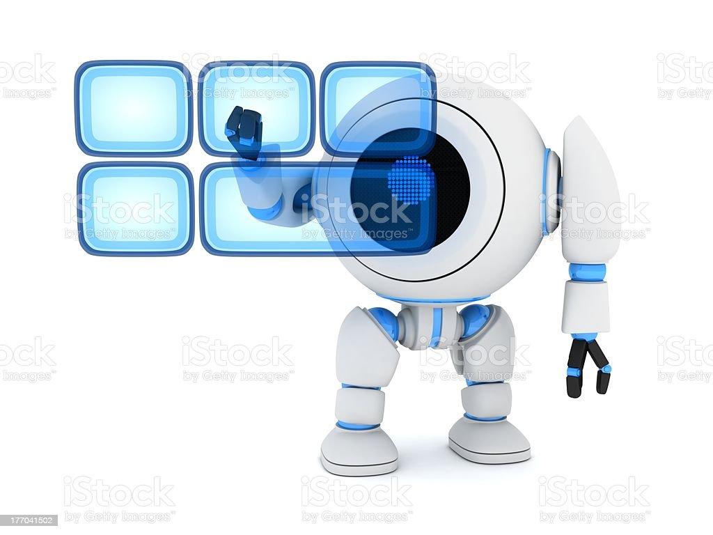Robot and buttons hologram royalty-free stock photo