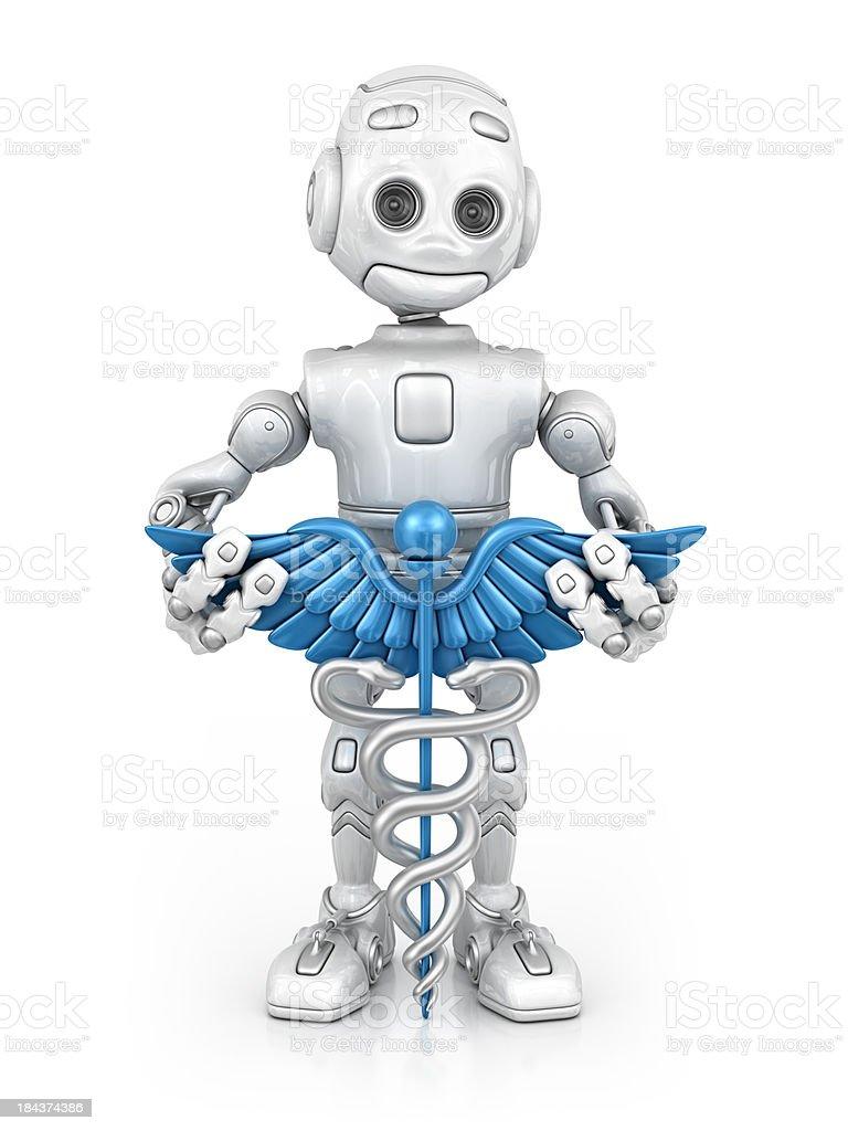robot and caduceus stock photo