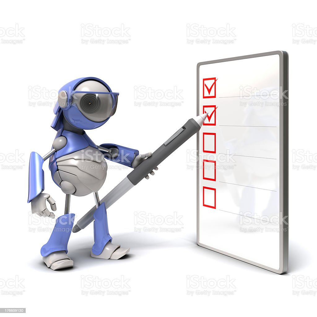 Robot and checklist stock photo