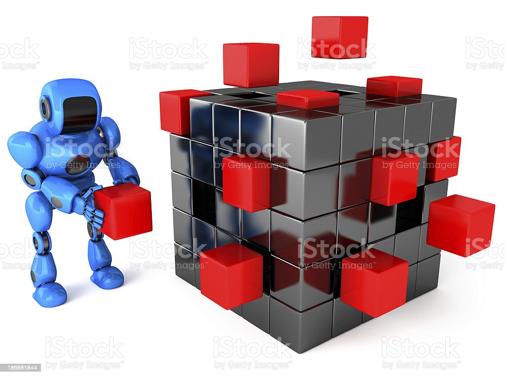 Robot and Cube assembling from blocks royalty-free stock photo