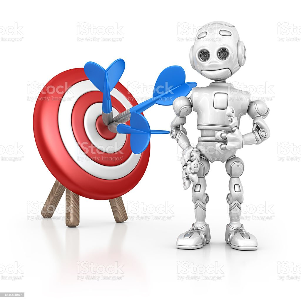 robot and dart royalty-free stock photo