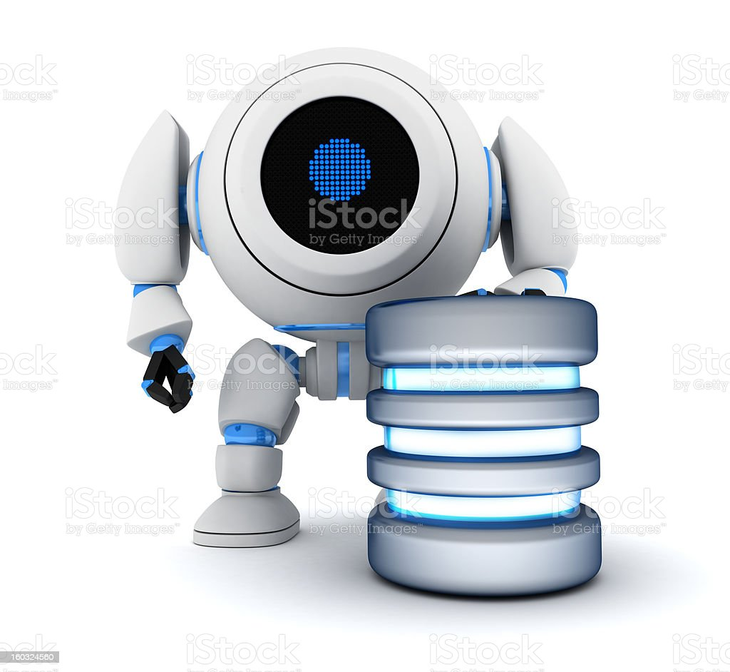 Robot and database royalty-free stock photo