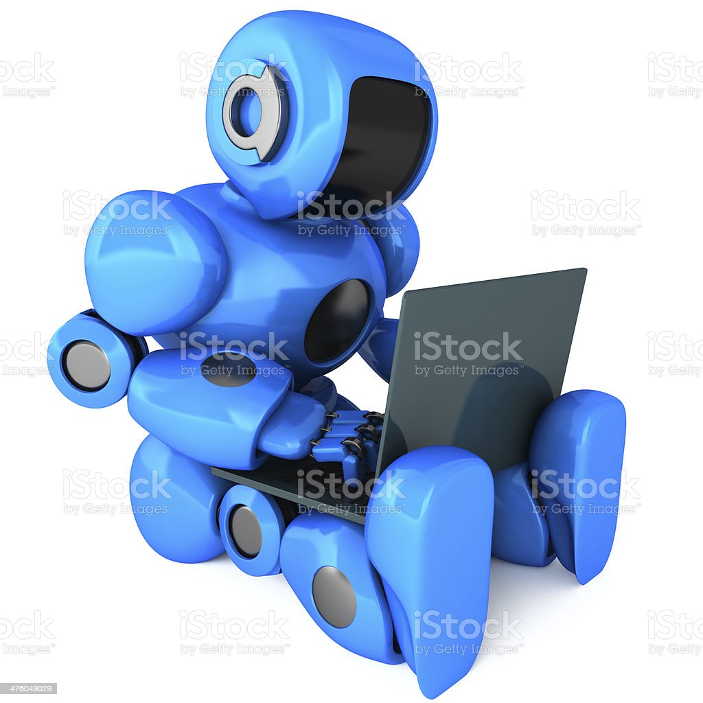 Robot and laptop royalty-free stock photo