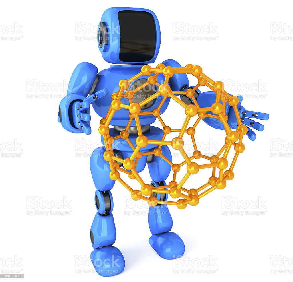 Robot and Molecular structure royalty-free stock photo