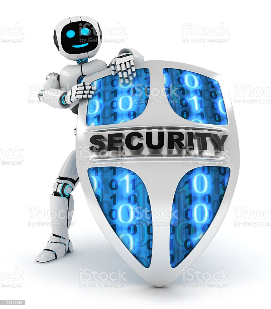 Robot and shield royalty-free stock photo