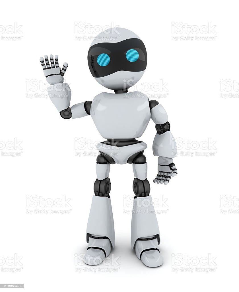 Robot and sign hi stock photo