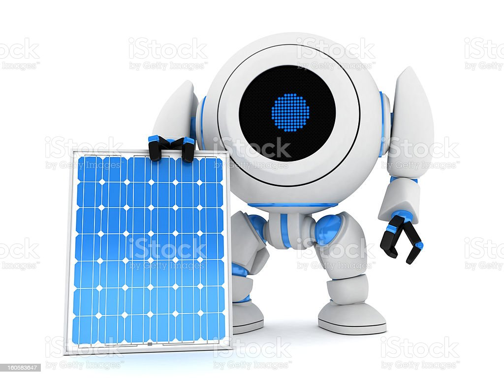 Robot and solar panel royalty-free stock photo