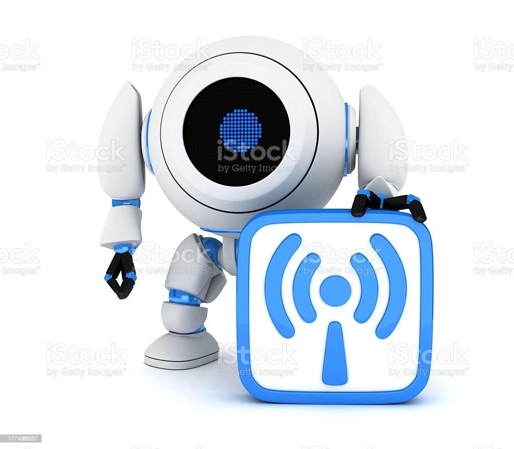 Robot and symbol Wi-Fi royalty-free stock photo