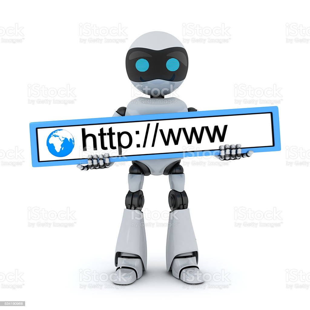 Robot and www address stock photo