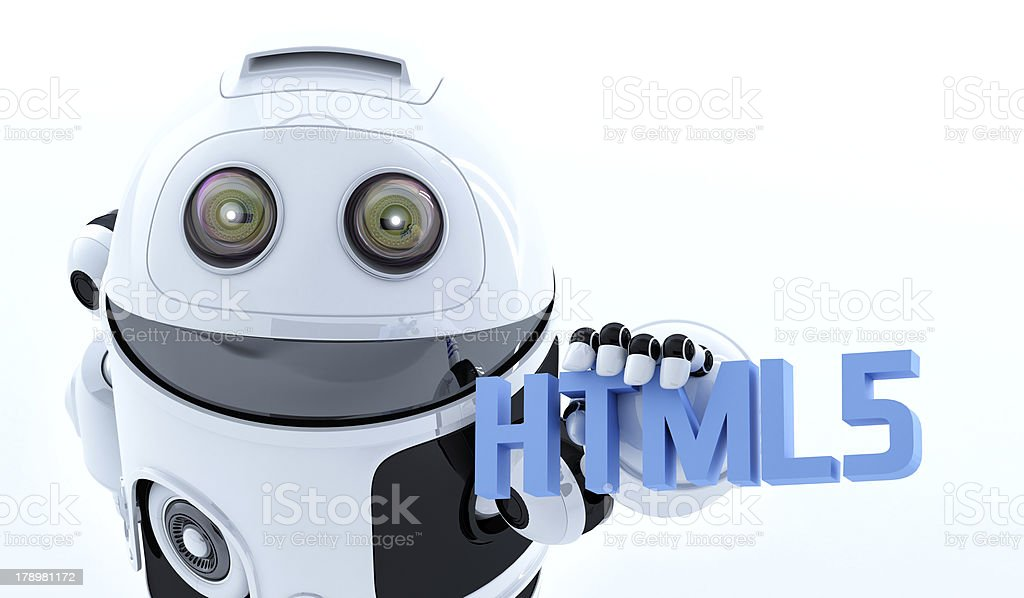 Robot android holding html5 sign royalty-free stock photo