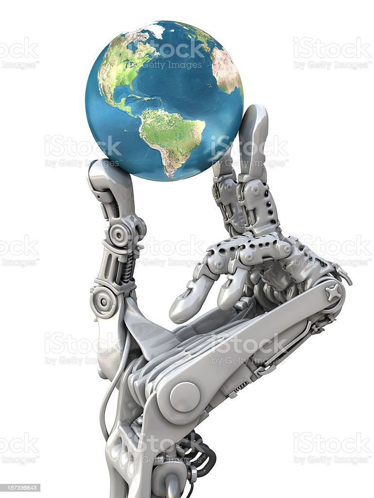 Robot arm and earth globe vector art illustration
