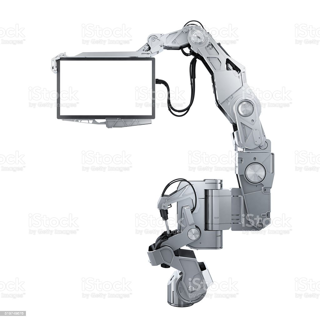 robot arm with monitor stock photo