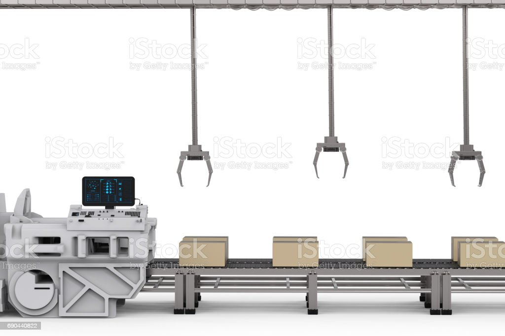robot arms with boxes on conveyor in factory stock photo