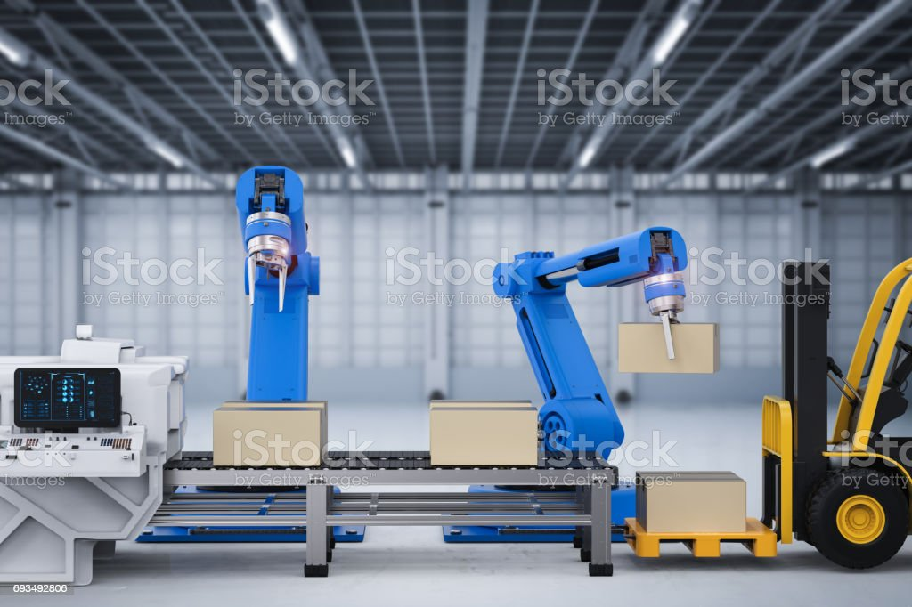 robot arms working with cardboard boxes and forklift truck stock photo