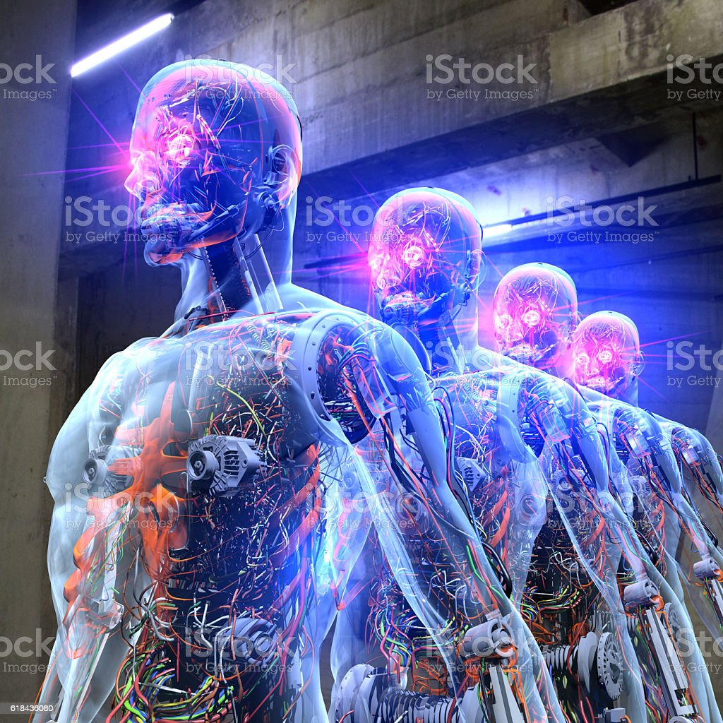 Robot Army in The Base stock photo