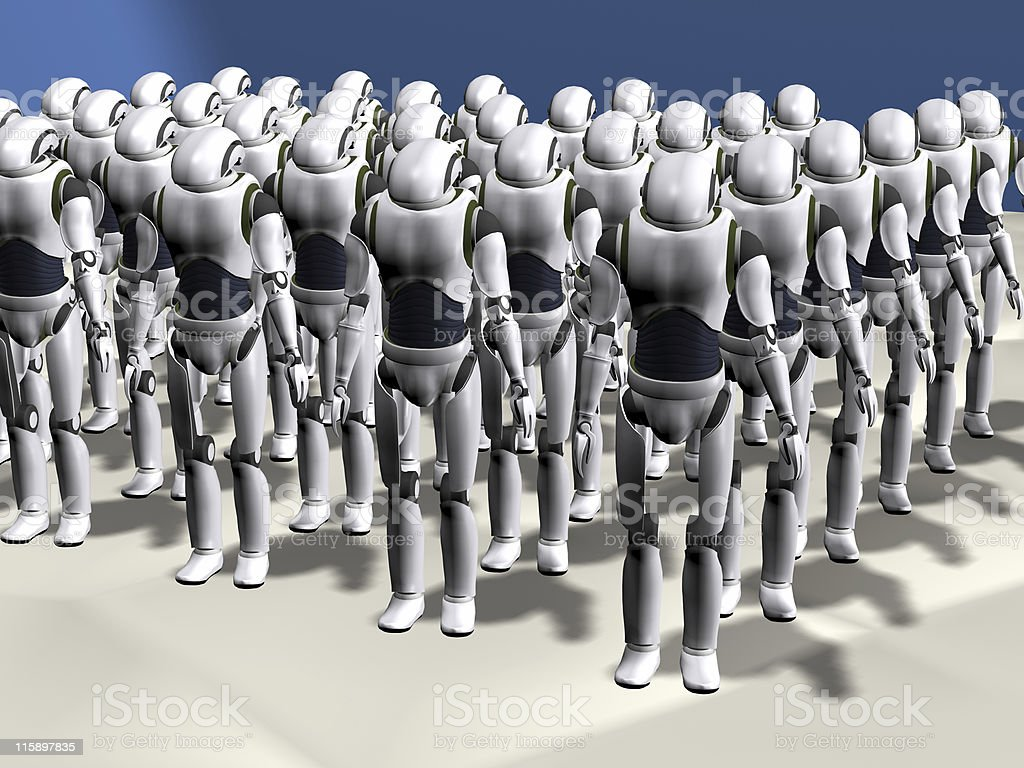 robot army royalty-free stock vector art