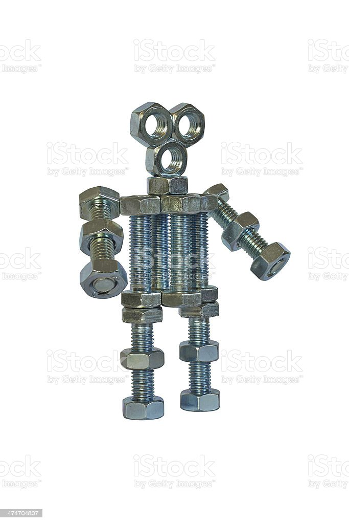robot assembled from bolts royalty-free stock photo
